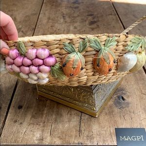 VINTAGE Handmade Embellished Basket / Server C4
